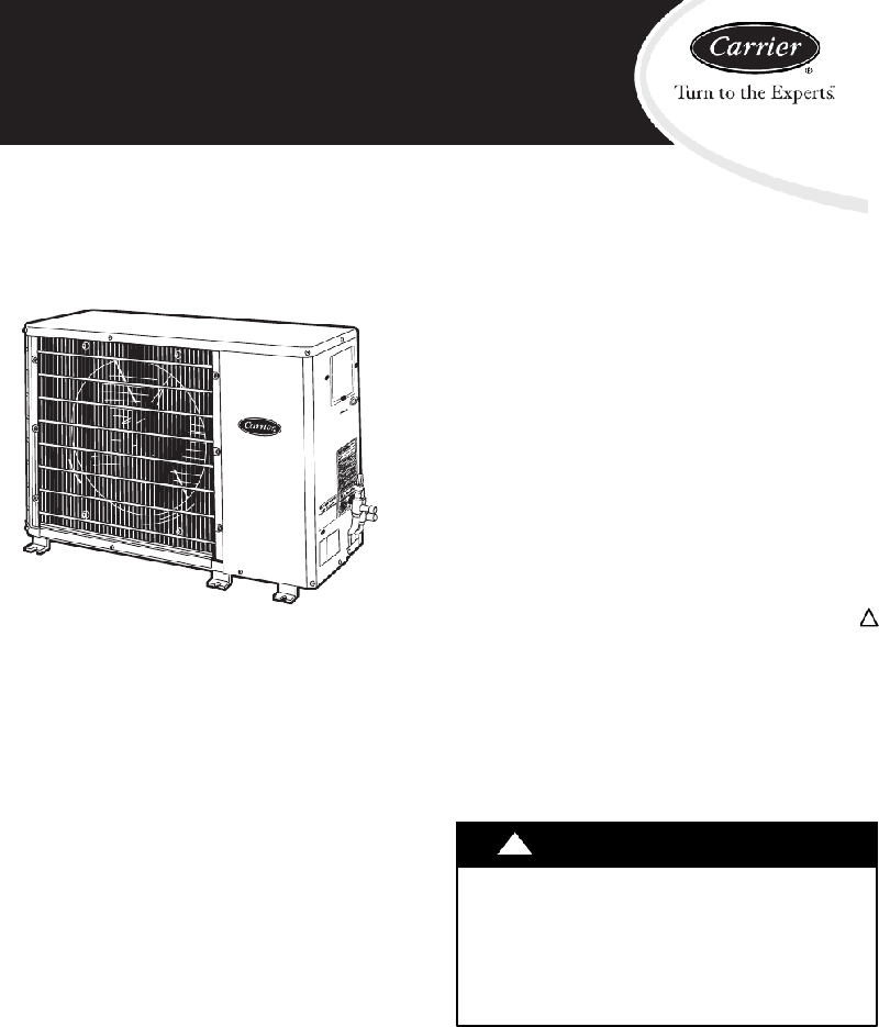 Carrier 38HDR Heat Pump Installation Instructions Manual